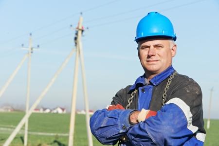 Portrait of electrician power lineman Stock Photo - 15973879