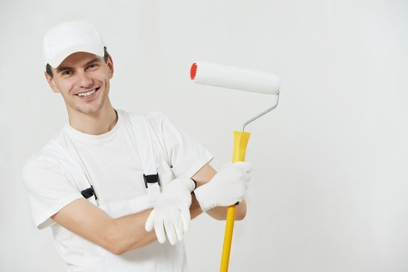 professions: Portrait of house painter worker Stock Photo