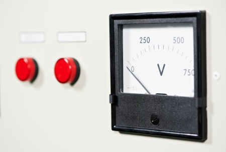 voltmeter: electrical switch panel with button and voltmeter