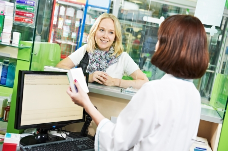 customer assistant: medical pharmacy drug purchase Stock Photo