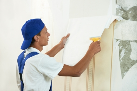 painter worker peeling off wallpaper photo