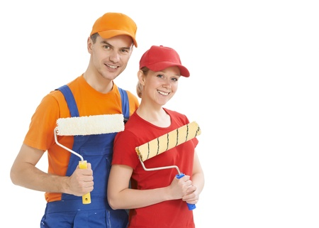 Portrait of house painter workers isolated Stock Photo - 16404859