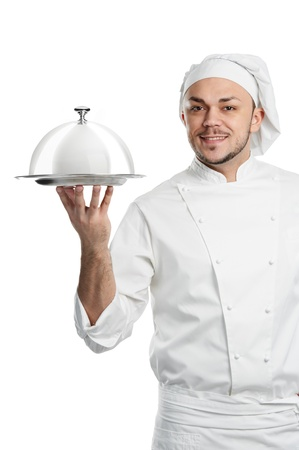 serving tray: positive chef with cloche lid cover isolated Stock Photo