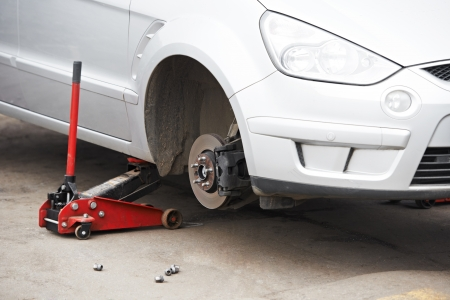 tire fitting: car during Tyre replacement