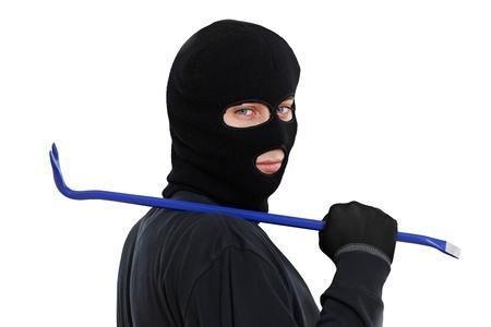 felony: thief burglar with metal crowbar Stock Photo