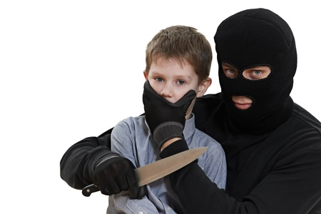 balaclava: thief kidnapper with child isolated Stock Photo