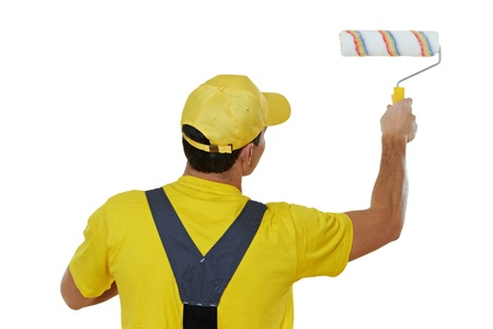 painter man in uniform with paint roller Stock Photo - 17276463