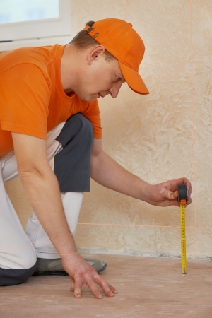 parquet workers at flooring work Stock Photo - 17276470