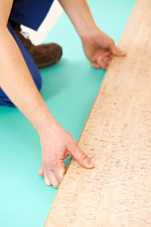 tongue and groove: cork flooring work Stock Photo