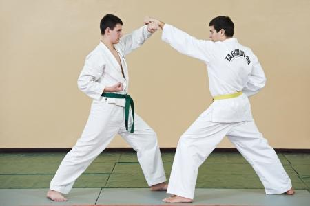 defensa personal: Dos hombres en ejercicios de taekwondo