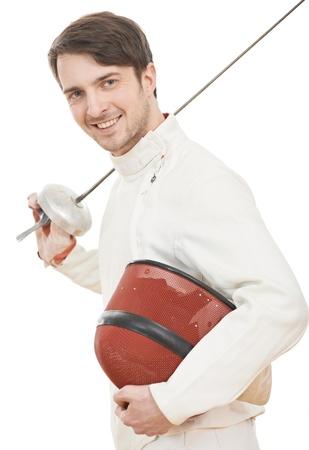 esgrimista: Esgrimista feliz con el papel de aluminio con pinzas