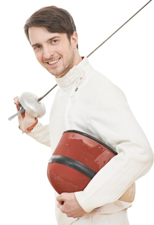 Happy fencer with rapier foil Stock Photo - 17361256