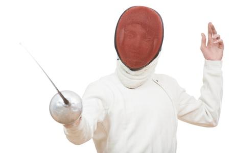 fencer: Fencer with rapier foil Stock Photo
