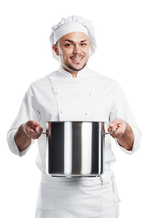 positive chef with pan pot isolated photo