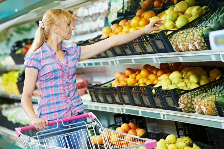 woman shopping fruits photo