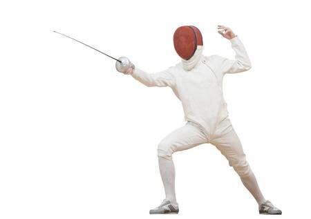 esgrimista: Fencer con papel de aluminio con pinzas