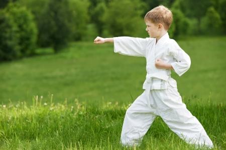 karate boy: Little boy make karate exercises Stock Photo