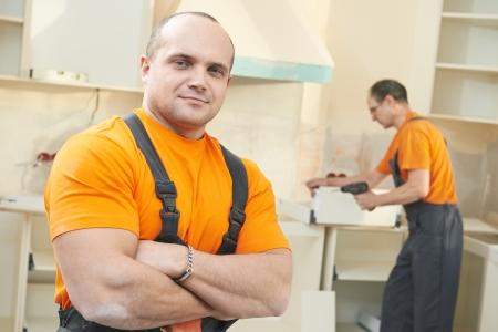 Portrait of kitchen installation worker photo