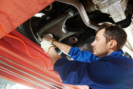 scheduled replacement: auto mechanic at wheel alignment work with spanner