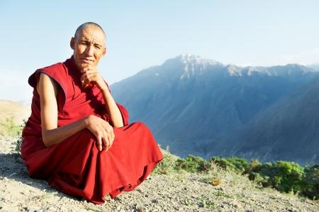 monjes: Dos indio monje tibetano lama