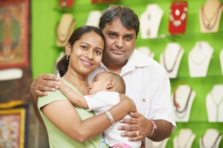 beautiful indian girl face: Indian family woman man and child boy