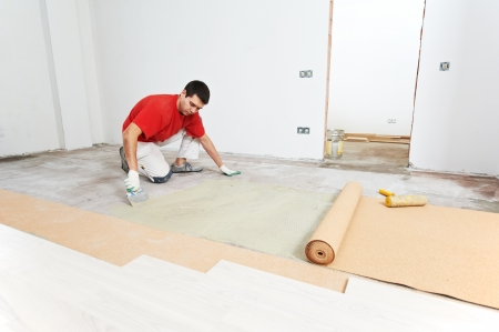 Parquet Floor work with cork layer Stock Photo - 18123516