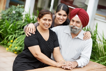 sikh: Happy indian adult people family Stock Photo