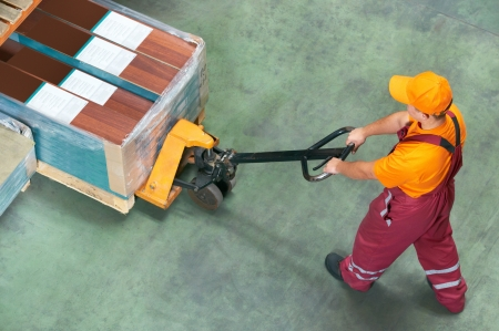 worker with fork pallet truck Stock Photo - 18196742