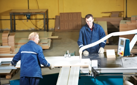 workers at wood processing with circ saw photo