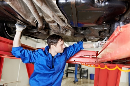 repairman: auto mechanic at wheel alignment work with spanner