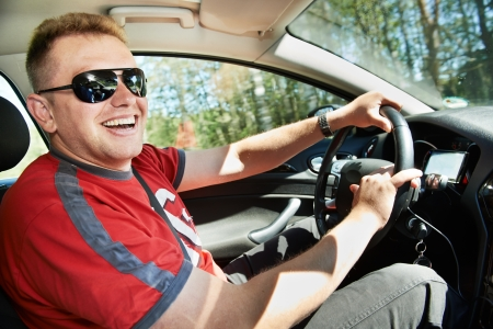 test drive: Happy driver driving car