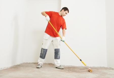 parquet floors: strato di parquet con rullo di pavimento di adescamento