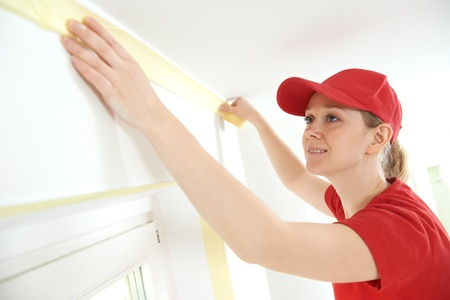 masking: Home Painter with masking tape