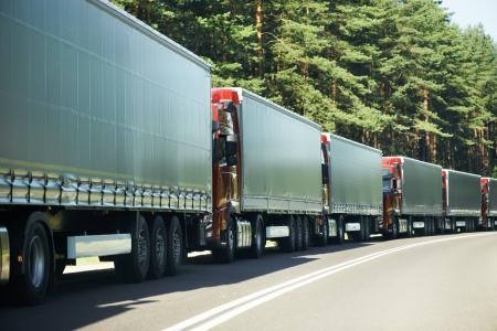 freight forwarding: Lorry trucks in traffic jam Stock Photo