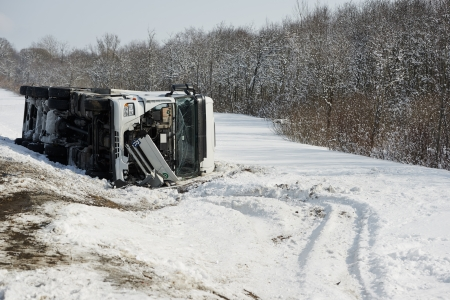winter freight lorry car crash Stock Photo - 18671350