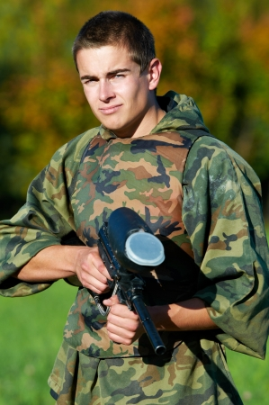 Man paintball player Stock Photo - 18628026
