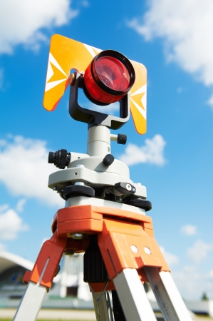 tacheometer: surveyor equipment target outdoors