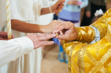 russian church: Orthodox wedding ceremony Stock Photo