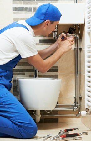 loo: Young plumber man worker
