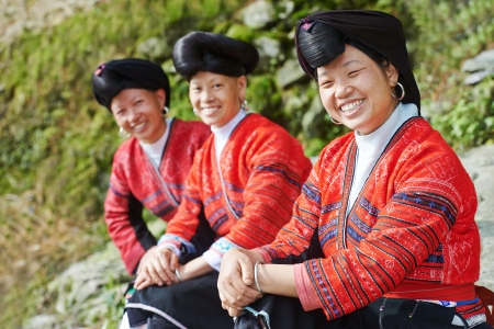 chinese culture: smiling chinese minority woman Yao  Stock Photo