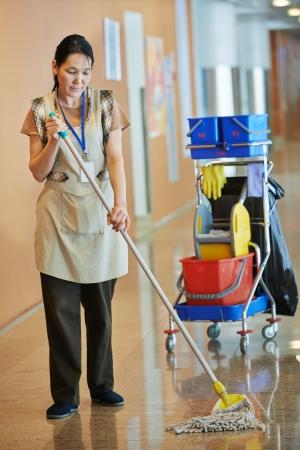 femme nettoyage: Femme hall d'immeuble de nettoyage Banque d'images