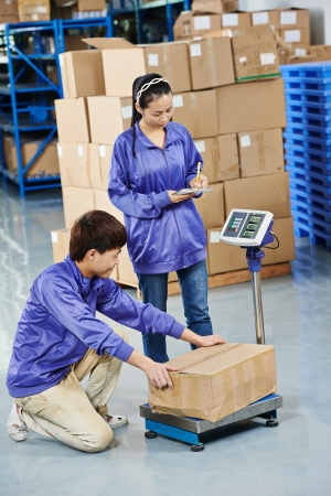 warehousing: young chinese workers in uniform with weight  scales and box at warehousing system