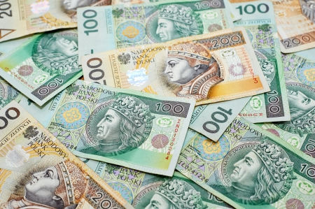 subornation: Poland currency. Close-up polish zloty 100 and 200 banknotes Stock Photo