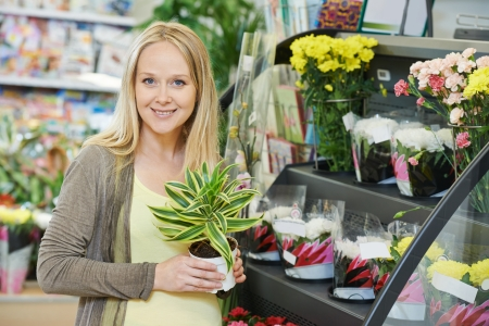 superstore: Young smiling woman buyer choosing flower in superstore shop