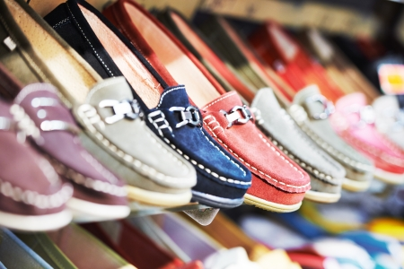 moccasins: Row of slip-on shoes in a footwear shop