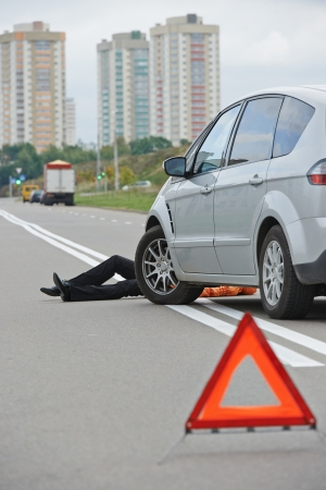 car crime: Road accident. Knock down pedestrian and upset driver in front of automobile crash car collision