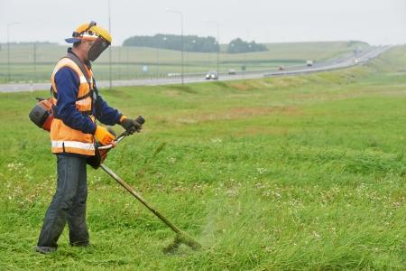 grassy plot: cortadora de c�sped trabajador hombre cortando el c�sped en el campo verde Foto de archivo