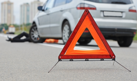 road accident: Road accident. Knock down pedestrian and upset driver in front of automobile crash car collision
