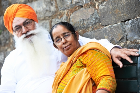 sikh: Portrait of elderly Indian sikh man in turban with bushy beard Stock Photo