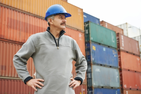 inspecting: adult terminal cargo dock warehouse worker in front of maritime shipping container